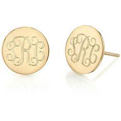 Sarah Chloe Round Engraved Monogram Stud Earrings dwCE7eDqS