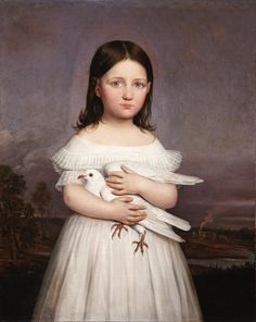 Portrait of Jeanne Roman (1836-1889) Holding a Dove, Daughter of Aimée Françoise Parent (b. 1797) and Louisiana Governor André Bienvenu Roman (1795-1866)