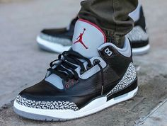 "release date: 698fa 1eb3d ""What did you wear today    Air Jordan 3  Black Cement    for on-feet  photos for outfit lay down photos. Herbhandler · Shoes"