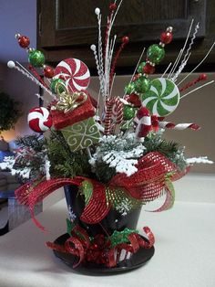 "christmas centerpieces top hats | TOP HAT"" - Festive Holiday Tabletop Centerpiece Decoration by ..."