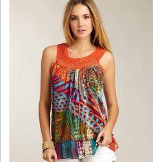 Love Token Tie Dye Tank Orange crochet neckline with minor sequin detail. Made in India. Worn only once. Love Token Tops Tank Tops