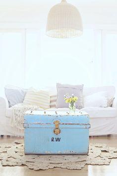 it's a vintage blue beach cottage sea trunk - Beach Decor Blog, Coastal Blog, Coastal Decorating