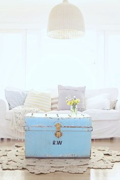it's a vintage blue beach cottage sea trunk