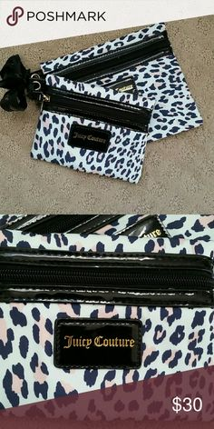 Brand new Juicy couture make up bags Authentic Juicy Couture makeup bags feature a light blue background with navy blue and light pink leopard pattern. Juicy Couture Bags Cosmetic Bags & Cases