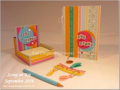 CoupesEtDecoupes - Stampin'Up Independant Demonstrator Paris (France) - Scrap en Kit #2 - May 2016 - Note_en_kit - Post It holder and his notebook