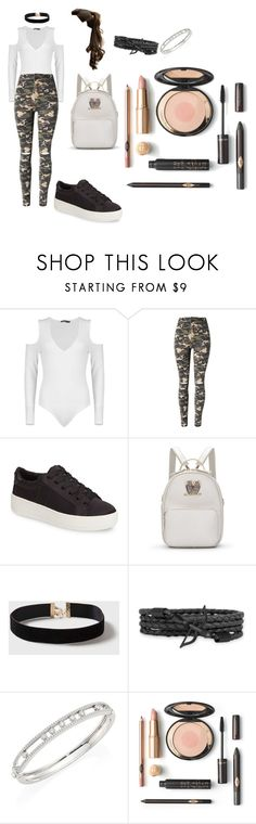 """""""Camo SchoolGirl"""" by melly1616 on Polyvore featuring Boohoo, WithChic, Steve Madden, Dorothy Perkins and Messika"""