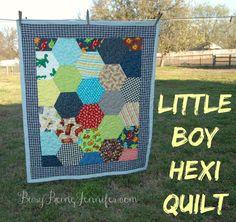 A Little Boy Hexi Quilt - BusyBeingJennifer.com