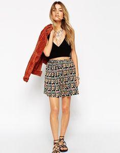 ASOS Skater Skirt In Geo-Tribal Print