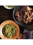 12-hour roast lamb with pistachio and green-olive tabbouleh