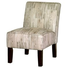 Burke Armless Slipper Chair - Woodgrain  If you had 2 of the bright green chairs you could soften the look a little with a chair like this