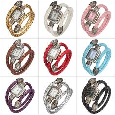 Wholesale Lady Fashion Knitted Leather Band Bracelet Style Square Dial Quartz Wrist Watch
