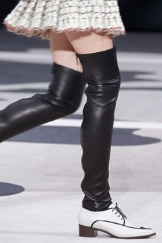 Chanel - White Pointed-Toe Oxford with Thigh-High Black Leather Leg Warmers