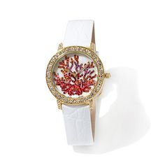 Victoria Wieck Crystal Coral Design Leather Strap Watch