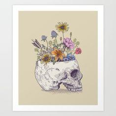 skull, flowers, arrow, feather...