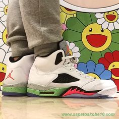 tenis de basket AIR JORDAN V RETRO Branco/Preto/Verde 136027-115 Space Jam