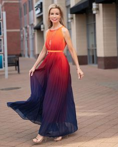 Splendor of the Sunset Gradient Pleated Maxi Dress - DRESS - Retro, Indie and Unique Fashion Casual Dresses, Trendy Dresses, Women's Casual, Casual Outfits, Kids Blouse Designs, Trendy Clothes For Women, Trendy Tops, Dress Indian Style, Pleated Maxi