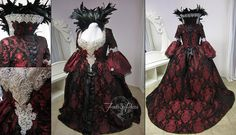 Regina Mills Black and Red Brocade Gown by Lillyxandra