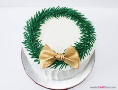 Buttercream Christmas Wreath Cake tutorial with chocolate pine needles!