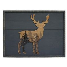 """Millwood Pines Add a dazzling wildlife touch to your home with this wall decor. This art piece features a deer silhouette, forest print, and a distressed gray MDF wood plank background. Hang this warm and rustic piece up and admire your home decor! Size: 17.99"""" H x 28.03"""" W x 0.83"""" D Wood Pallet Signs, Wood Pallets, Wood Signs, Wood Wall Decor, Wood Wall Art, Wall Décor, Room Decor, Deer Wood, Hunting Cabin Decor"""