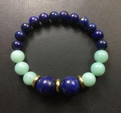 Jewelry/Bracelet/Zen/Healing/ Lapis Lazuli/ Peruvian Amazonite /Solid Brass / Continuous Bracelet/Archangel Michael Energy by CatchyTreasures on Etsy