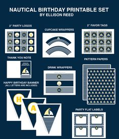 Nautical Birthday DIY Printable Party Decorations Set by Ellison Reed