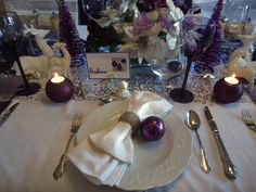 ladies christmas luncheon table decorations   Purple Christmas Dinner , Christmas lunch in our dining room just for ...