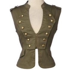 Forever 21 military vest Large Brown Forever 21 military style vest w/gold-bronze buttons 57% nylon 41% cotton 2% spandex Forever 21 Jackets & Coats Vests