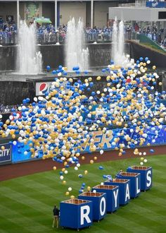 Balloons were released in the opening ceremonies Monday, April 6, 2015, at the Kansas City Royals season opening game with the Chicago White Sox at Kauffman Stadium.