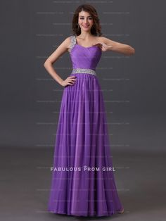 A-line One Shoulder Ruffles  Sleeveless Floor-length Chiffon Prom Dresses / Evening Dresses
