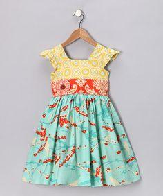 Yellow & Blue Poppy Charlotte Dress