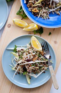 VEGA: Rijst-linzensalade met witlof, walnoten en cranberries