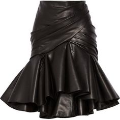 Balmain Wrap-effect pleated leather skirt