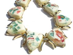 0faf71b7d06330 Vintage Confetti Lucite Necklace in Pink & Blue by RibbonsEdge, $34.99 Vintage  Costume Jewelry,