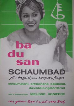Plakat mit Badusan-Werbung der VEB Gerana-Kosmetik East German Vintage Ad DDR  Reklame