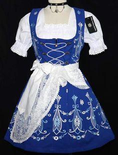 New 3pc Short Blue German Garden Summer Oktoberfest Dirndl Party Dress EU32 2 XS | eBay
