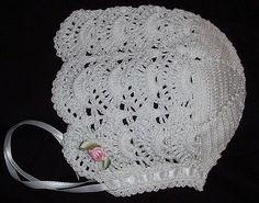 Elegant Crochet White Newborn Reborn Baby Bonnet Hat
