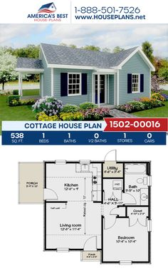 Plan features a charming 538 sq. Cottage home design complete with 1 bedroom, 1 bathroom, and an open floor plan. Guest House Plans, Small House Floor Plans, House Layout Plans, Cottage Floor Plans, Cottage House Plans, Dream House Plans, Small House Plans Under 1000 Sq Ft, Small Cottage Homes, Small Cottages