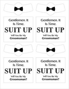 Be My Groomsmen - Beer Labels - 4 Bottle Labels and 4 Neck Labels - https://www.amazon.com/dp/B01J60BY6I Check out these Awesome tuxedo themed labels to ask your friends to be in your wedding. Great gift for your Groomsman. Custom Quality Water Resistant Vinyl bottle labels to put on a beer bottle and ask the question to be part of your bridal party.