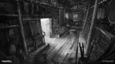 Uncharted 2 - B&W Concept Design, James Paick Value Painting, Dragon City, Interior Concept, Environment Concept, Interior Lighting, Interior And Exterior, Concept Art, Scene, Black And White