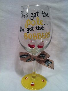 Hand painted wine glass, Painted wine glass, Fishing wine glass, Funny wine glass