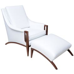 1stdibs | An Italian Modern Mahogany Armchair and Ottoman.  I want, this chair is exquisite.