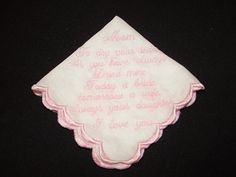 Pink Embroidered Wedding Handkerchief for Mom by cajunstitchery, $30.00
