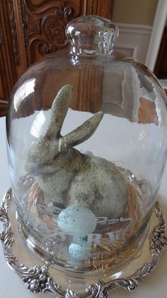 Holiday Cloche ~ How sweet a Rabbit and Eggs