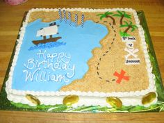 Pirate sheet cake.  Looks simple, but time consuming.