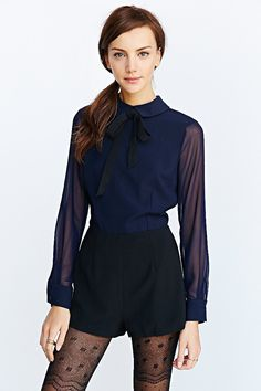 Cooperative Black Tie Collared Romper - Urban Outfitters
