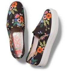 RIFLE PAPER Co. Triple Decker Slip-On Platform Shoe in Lively Floral (180 ILS) ❤ liked on Polyvore featuring shoes, sneakers, black platform shoes, canvas slip on shoes, slip-on shoes, floral-print shoes and floral canvas shoes