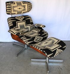 Jacquard fabric - Brocade and Damask are types of jacquard woven fabric. (Black and White Navajo Eames Style Recliner and Ottoman) Southwest Decor, Chair And Ottoman, Chair Cushions, Home Living, Decoration, Home Accessories, Furniture Design, Upholstery, Home Decor