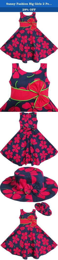 Sunny Fashion Big Girls 2 Pecs Dress Sunhat Bow Tie Flower Summer Beach, Red, 7-8. 2 pecs dress set including a hat. Zipper back. Machine wash. Knee length. Made in china. Following size means age ranges for girls, they are for general guidance only. For most accurate fit, we recommend checking detailed measurement before purchase.