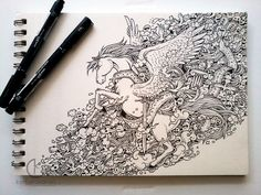 COMMISSIONED WORK: WingedA commissioned doodle for a client from Malaysia featuring a Pegasus. :)