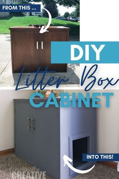 Looking for ways to keep the cat litter box hidden? Why not upcyle a thrift store piece into a cat litter box cabinet? It looks nice and nobody has to stare at that unsightly litter box. Diy Furniture Projects, Diy Furniture Plans, Diy Projects, Diy Litter Box, Diy Accessoires, Repurposed Items, Diy Stuffed Animals, Home Hacks, Farmhouse Decor